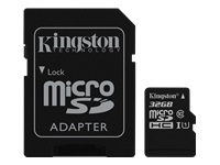 Kingston Canvas Select - Flash memory card (microSDHC to SD adapter included) - 32 GB - UHS Class 1 / Class10
