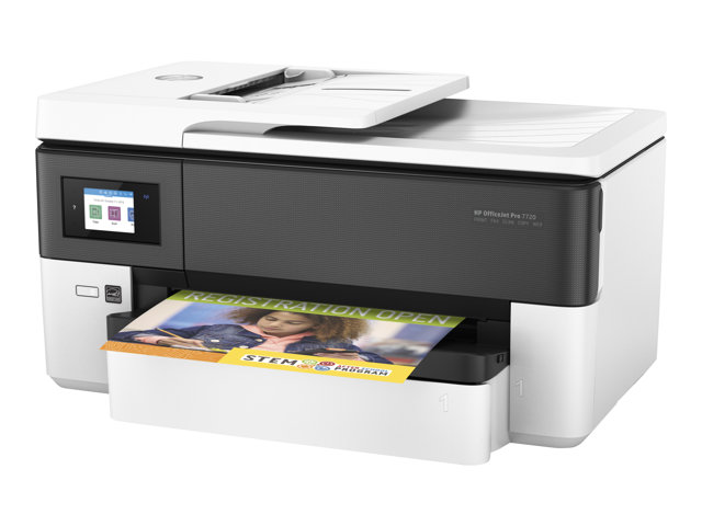 HP Officejet Pro 7720 Wide Format All-in-One - Imprimante multifonctions - couleur - jet d'encre - 216 x 356 mm (original) - A3 (support) - jusqu'à 34 ppm (copie) - jusqu'à 34 ppm (impression) - 250 feuilles - 33.6 Kbits/s - USB 2.0, LAN, Wi-Fi(n), hôte USB