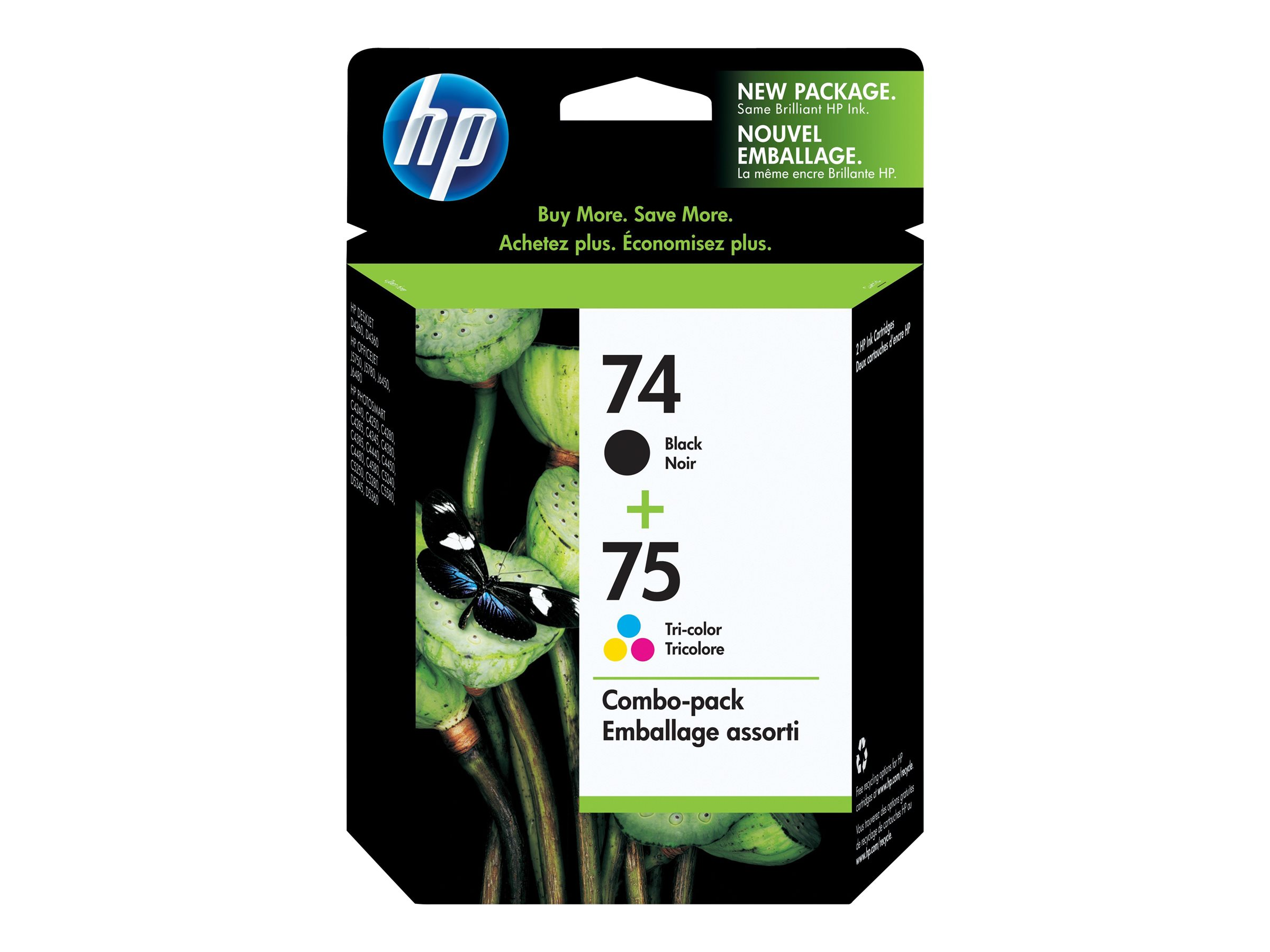 HP 74/75 - 2-pack - color (cyan, magenta, yellow), pigmented black - original - ink cartridge