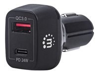 Manhattan Power Delivery Car Charger - 42 W, USB-C Power Delivery Port up to 24 W, USB-A QC 3.0 Charging Port up to 18 W, Black