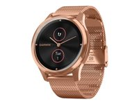 Garmin vívomove Luxe 42 mm 18K rose gold PVD stainless steel smart watch with milanese band