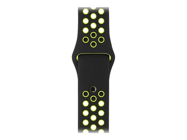 Apple 42mm Sport Band - Small/Medium & Medium/Large - bracelet de montre - taille P/M/L - noir/volt - pour Watch (42 mm)