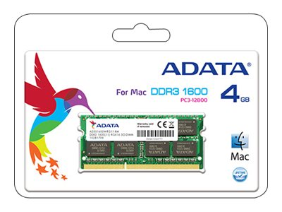 ADATA Apple Series - DDR3 - 4 GB - SO DIMM 204-PIN - 1600 MHz / PC3-12800 - CL11