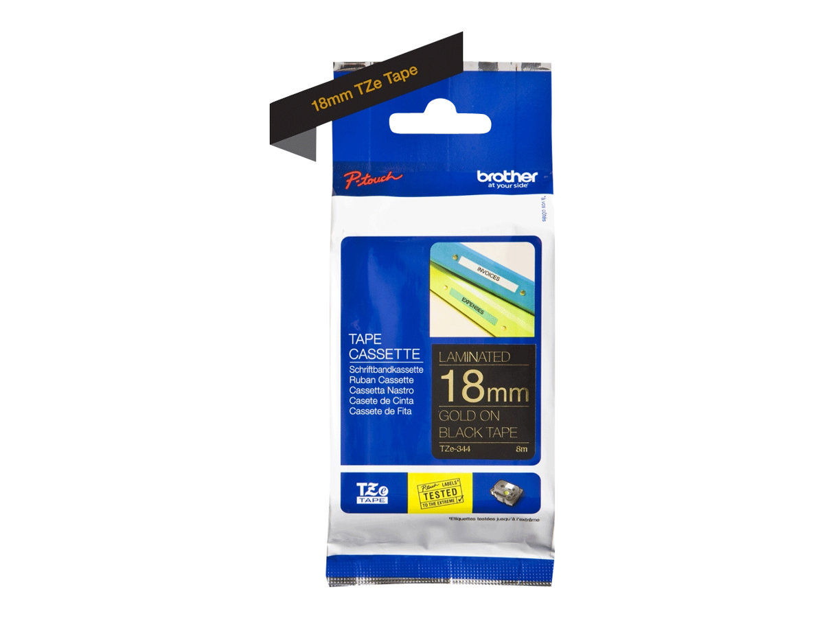 Brother TZe-344 - laminated tape - 1 roll(s) - Roll (1.8 cm x 8 m)