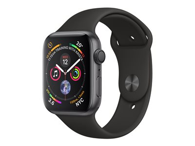 Apple Watch Series 4 (GPS) - space gray aluminum - smartklokke med sportsbånd - svart - 16 GB