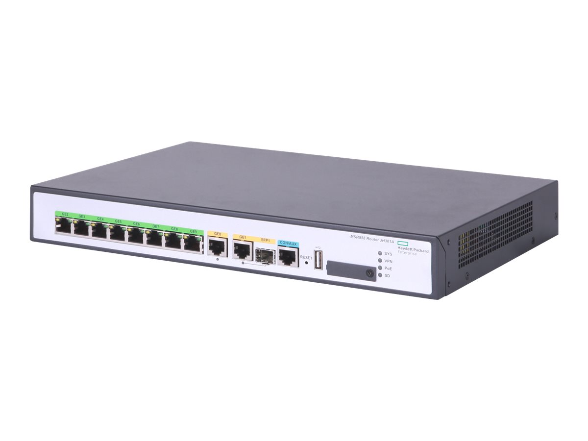 HPE FlexNetwork MSR958 PoE - Router - 8-Port-Switch - GigE - WAN-Ports: 2 - an Rack montierbar