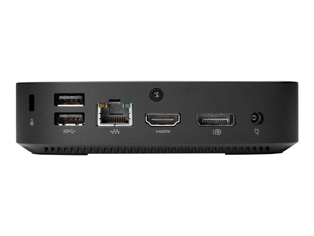HP t430 - Thin client - DTS - 1 x Celeron N4000 / 1.1 GHz - RAM 4 GB - flash - eMMC 32 GB - UHD Graphics 600 - GigE - WLAN: 802.11ac, Bluetooth 4.2 - HP Smart Zero Core - monitor: none - keyboard: Canadian French - Smart Buy
