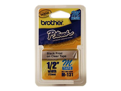 Brother M131 Black on clear Roll (0.47 in x 26.2 ft) 1 roll(s) non-laminated tape