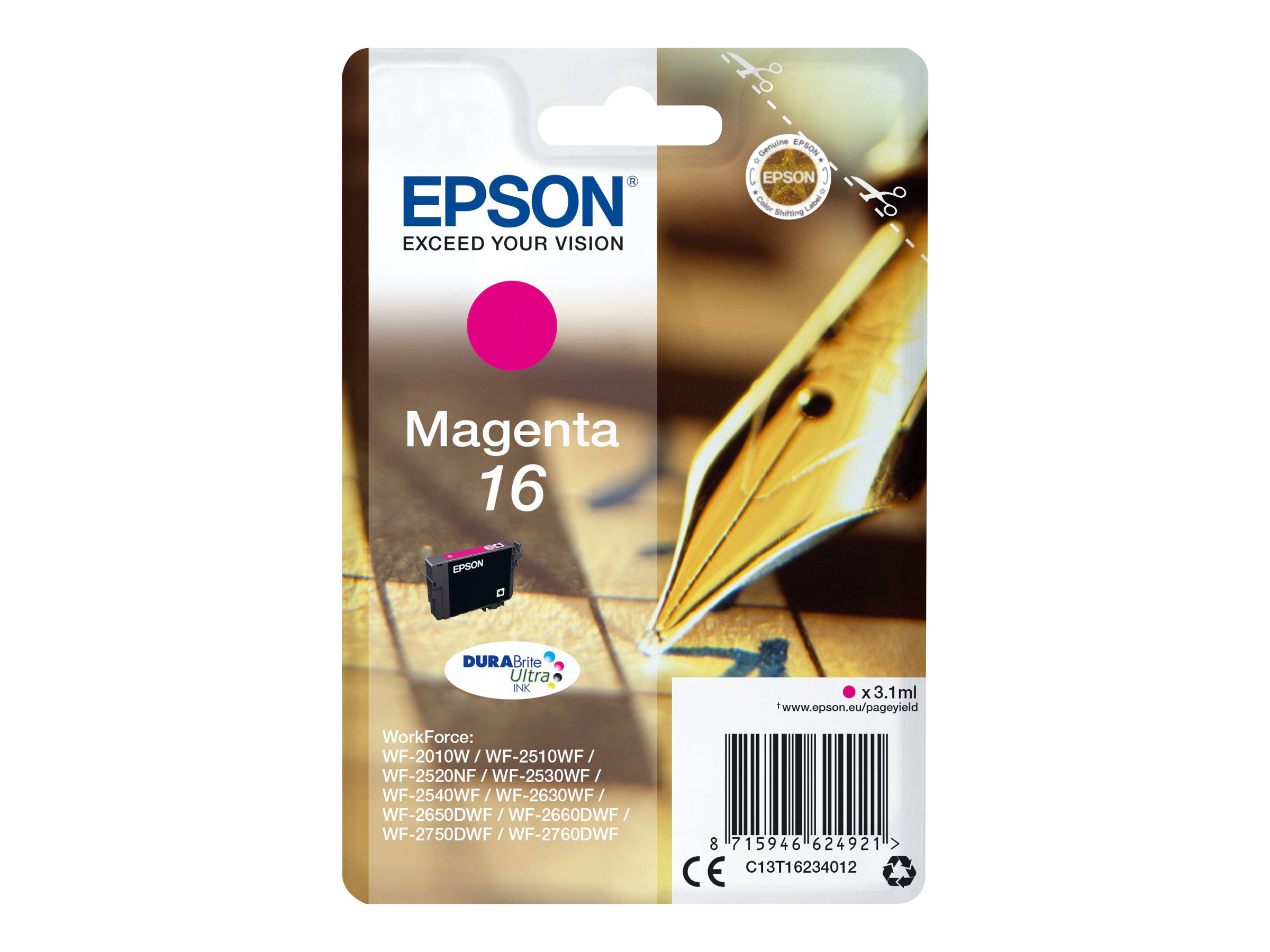 Epson 16 - 3.1 ml - Magenta - Original - Tintenpatrone - für WorkForce WF-2010, 2510, 2520, 2530, 2540, 2630, 2650, 2660, 2750, 2760