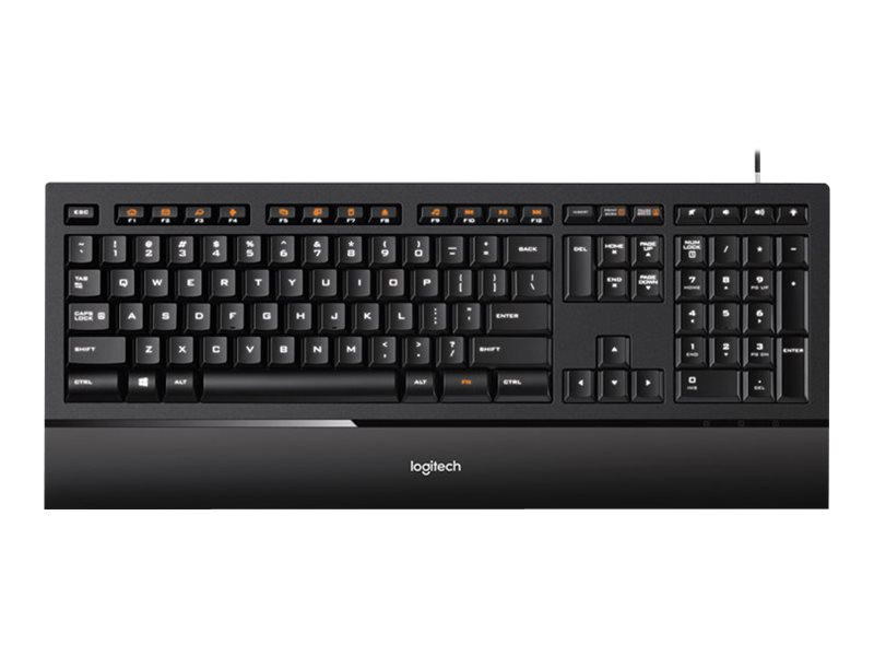 Logitech Illuminated K740 - Tastatur - hinterleuchtet - USB - Deutsch - orange, Classic Black