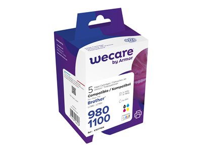 compatibles Brother  Wecare Multi Pack - pack de 5 - noir, jaune, cyan, magenta - cartouche d'encre (alternative pour: Brother LC1100BK, Brother LC980BK, Brother LC1100C, Brother LC980C, Brother LC1100M, Brother LC980M, Brother LC1100Y, Brother LC980Y)