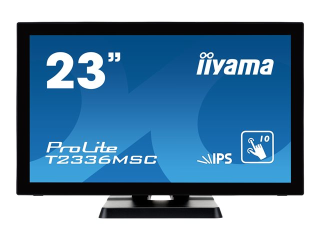"Iiyama ProLite T2336MSC-B2 - Écran LED - 23"" (23"" visualisable) - écran tactile - 1920 x 1080 Full HD (1080p) - IPS - 250 cd/m² - 1000:1 - 5 ms - HDMI, DVI-D, VGA - haut-parleurs - noir"