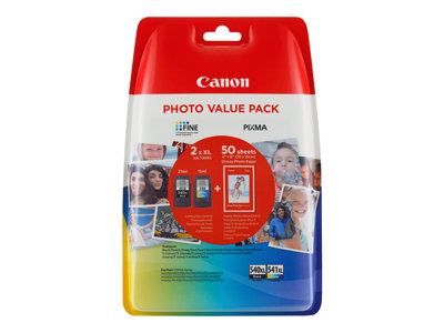 Canon PG 540 XL/CL-541XL Photo Value Pack Sort Farve (cyan, magenta, gul) 100 x 150 mm 50ark