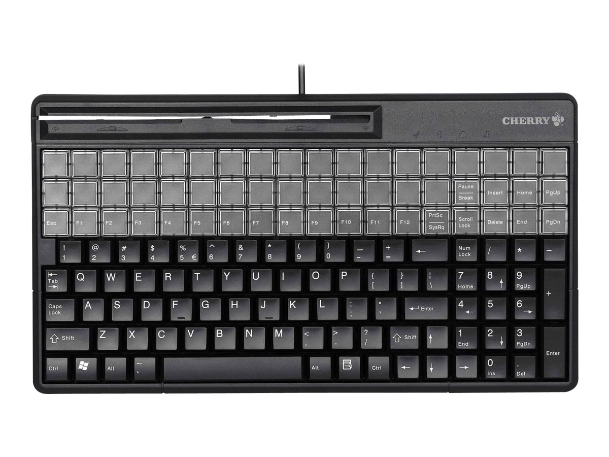 CHERRY Encryptable SPOS - keyboard - with magnetic card reader - QWERTY - US - black