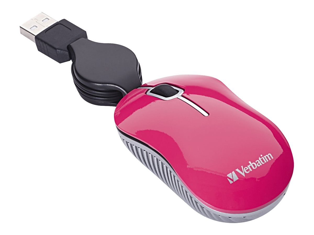 Verbatim Mini Travel Mouse Commuter Series - mouse - USB - pink