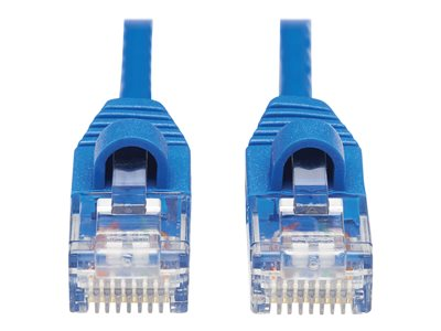 Tripp Lite Cat6a 10G Snagless Molded Slim UTP Ethernet Cable (RJ45 M/M), Blue, 15 ft. - Patch cable - RJ-45 (M) to RJ-45 (M) - 4.6 m - UTP - CAT 6a - molded, snagless, stranded - blue