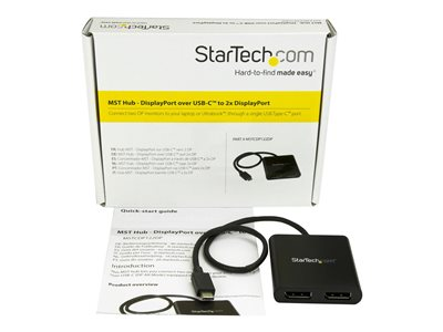 StarTech.com 2-Port Multi Monitor Adapter, USB-C to 2x DisplayPort 1.2 Video Splitter, USB Type-C to DP MST Hub, Dual 4K 30Hz or 1080p 60Hz, Compatible with Thunderbolt 3, Windows Only - Multi Stream Transport (MSTCDP122DP)