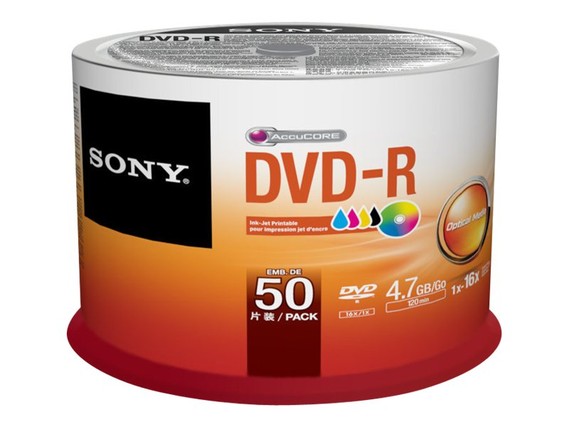 Sony 50DMR47PP - 50 x DVD-R - 4.7 Go ( 120 minutes ) 16x - surface imprimable - spindle