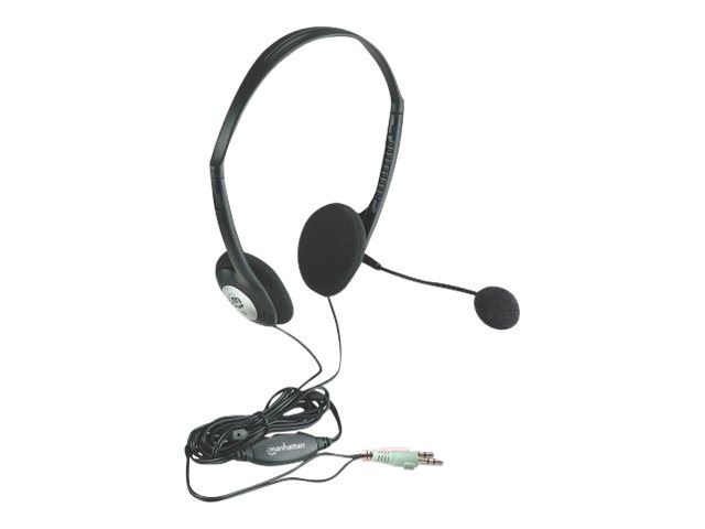 Manhattan Stereo Headset, Lightweight, adjustable microphone, in-line volume control, two 3.5mm plugs, cable 2m, Black, Blister