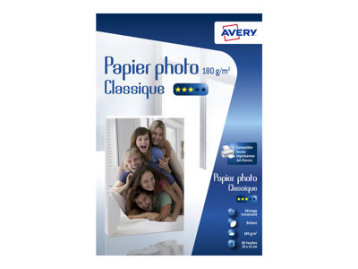 Papier photo Avery - 80 Feuilles de Papier Photo 180g/m² - 10 x 15mm - Impression Jet d'encre - Brillant