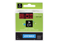DYMO D1 - Brillant - Noir sur rouge - Rouleau (1,9 cm x 7 m) 1 rouleau(x) ruban - pour LabelMANAGER 360, 400, 420, 450, 500, PC, PC2, Wireless PnP; LabelPOINT 300, 350