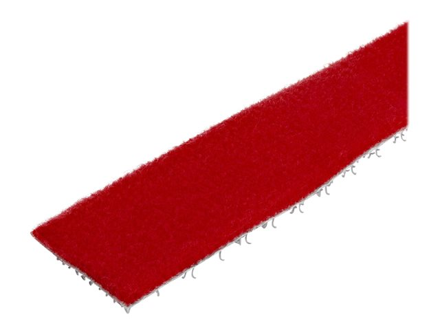 StarTech.com 100ft Hook and Loop Roll, Cut-to-Size Reusable Cable Ties, Bulk Industrial Wire Fastener Tape /Adjustable Fabric Wraps Red / Resuable Self Gripping Cable Management Straps - Adjustable Loop Ties (HKLP100RD)