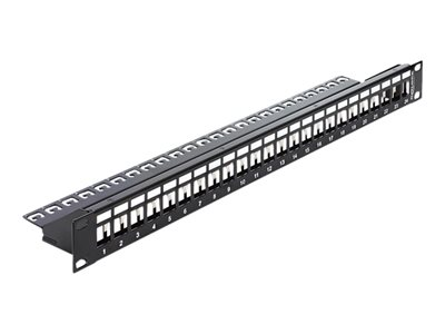DeLOCK Keystone Patch Panel - Patch-panel - sort - 1U - 19' - 24 porte