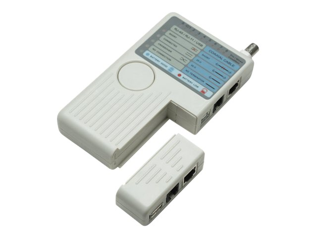 Intellinet 4-in-1 Cable Tester, RJ-11, RJ-45, USB and BNC, One Button Test - network tester
