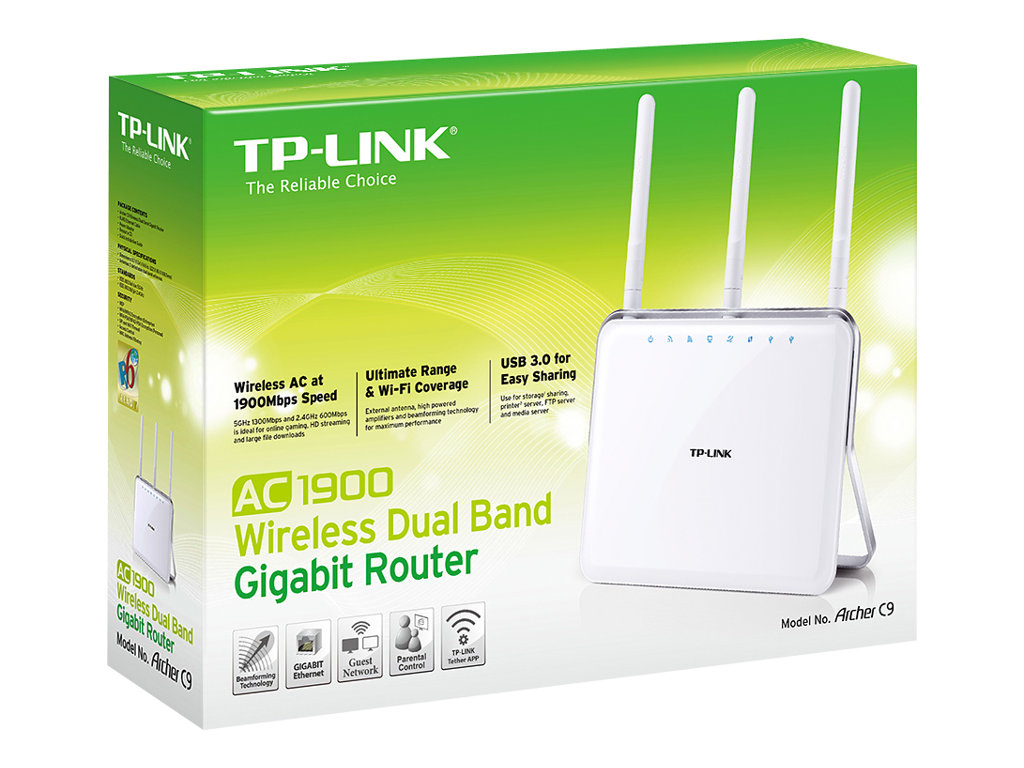 TP-LINK ARCHER C9 AC1900 - Wireless Router - 4-Port-Switch - GigE - 802.11a/b/g/n/ac - Dual-Band