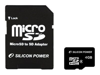 SILICON POWER - Flash-Speicherkarte (microSDHC/SD-Adapter inbegriffen) - 4 GB - Class 4 - microSDHC