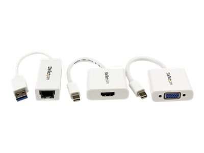 StarTech.com Kit d'accessoires pour  Macbook Air - Adaptateurs Mini DP vers VGA / HDMI et USB 3.0 vers Gigabit Ethernet - Lot d'accessoires pour notebook - blanc - pour Apple MacBook Air