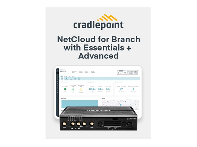 Cradlepoint NetCloud Essentials and Advanced for Branch Routers FIPS - subscription license (3 years) - 1 license - wit…
