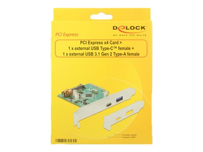PCI Express x4 Card > 1 x external USB Type-C female + 1 x external USB 3.1 Gen 2 Type-A female