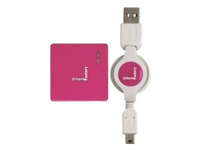 Urban Factory Crazy Hub USB 2.0 4 ports retractable cable Fuschia - Concentrateur (hub) - 4 x USB 2.0 - Ordinateur de bureau