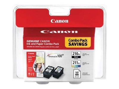 Canon PG-210 XL/CL-211 XL Combo Pack with Photo Paper Glossy - 1 - black, color (cyan, magenta, yellow) - ink tank / pa…