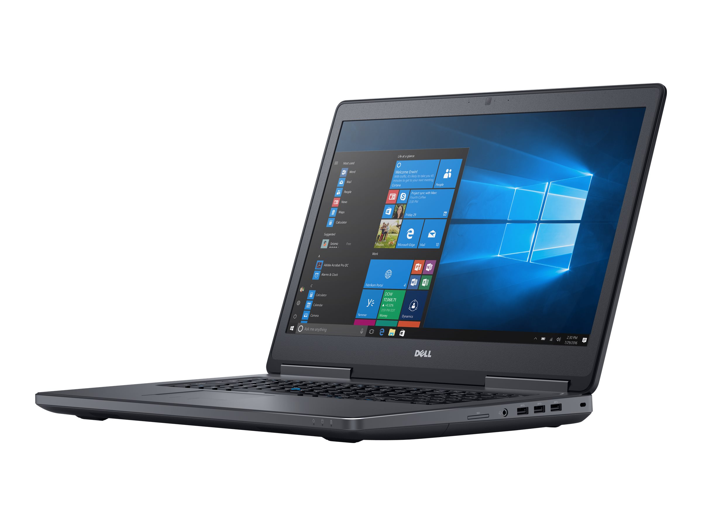 Dell Precision Mobile Workstation 7720 - Core i7 6820HQ / 2.7 GHz - Win 7 Pro 64-bit - 16 GB RAM - 256 GB SSD + 1 TB HDD - 43.838 cm (17.3