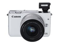 Canon EOS M10 - Digital camera - mirrorless - 18.0 MP - APS-C - 1080p / 30 fps - 3x optical zoom EF-M 15-45mm IS lens - Wi-Fi, NFC - white