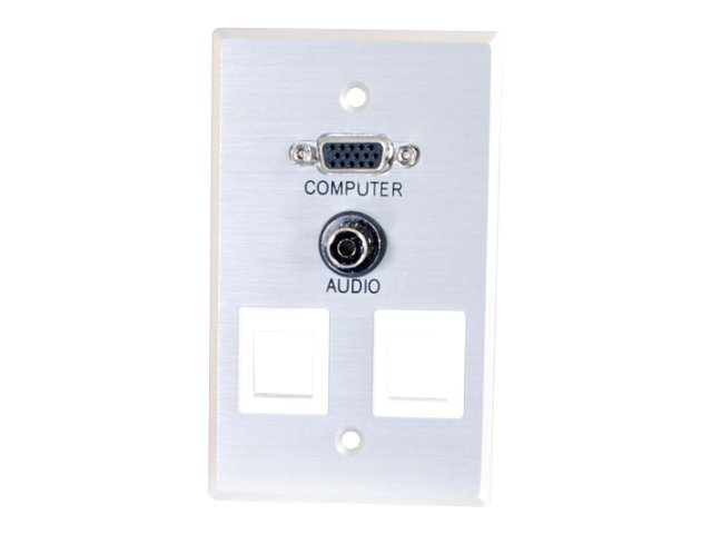 C2G VGA + 3.5mm Audio Pass Through Single Gang Wall Plate w/ 2 Keystones-Brushed Aluminum - mounting plate