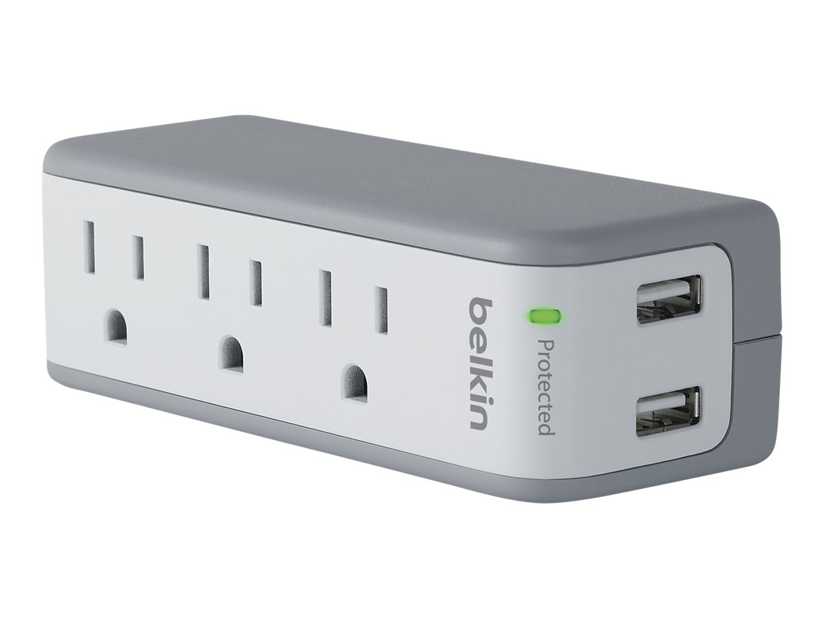 Belkin 3-Outlet Mini Surge Protector with USB Ports (2.1 AMP) - surge protector