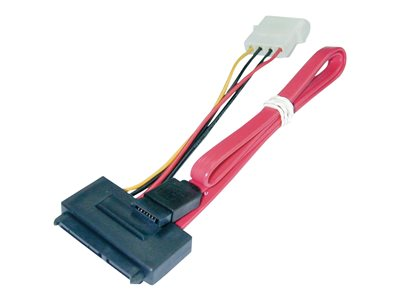 Lindy - SATA cable - 4 PIN internal power, SATA to SATA combo (F) - 70 cm - red