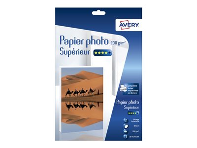 Papier photo Avery - 25 Feuilles de Papier Photo 200g/m² A4 - Impression Jet d'encre - Brillant