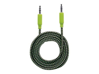 Manhattan Audio Cable 3.5mm Braided, 1.8m, Male to Male, Stereo, Black/Green, Blister - audio cable - 1.8 m