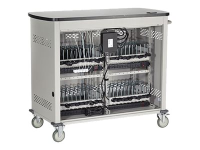 Black Box Double Frame with Medium Slots and Hinged Door Cart for 40 notebooks steel gra