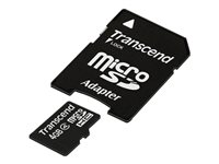 Transcend - Flash memory card (microSDHC to SD adapter included) - 4 GB - Class 4 - microSDHC
