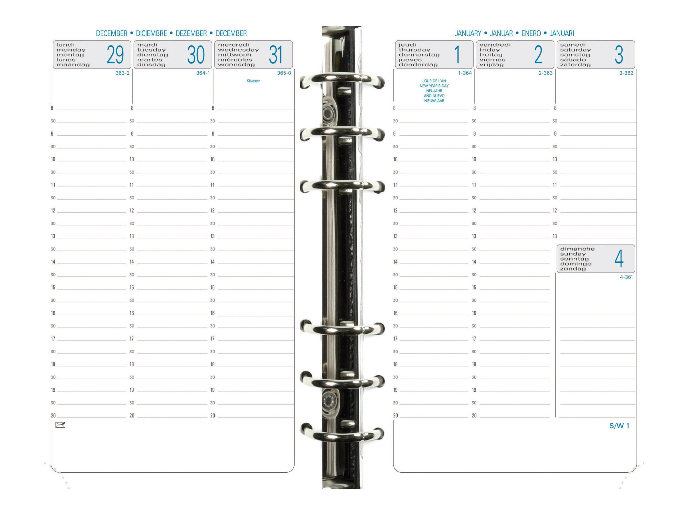 Exacompta Exatime 17 - recharge pour planning annuel - hebdomadaire - 105 x 172 mm