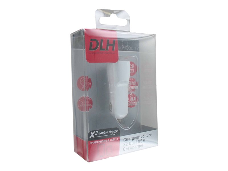 DLH - chargeur voiture 2 ports USB 12w