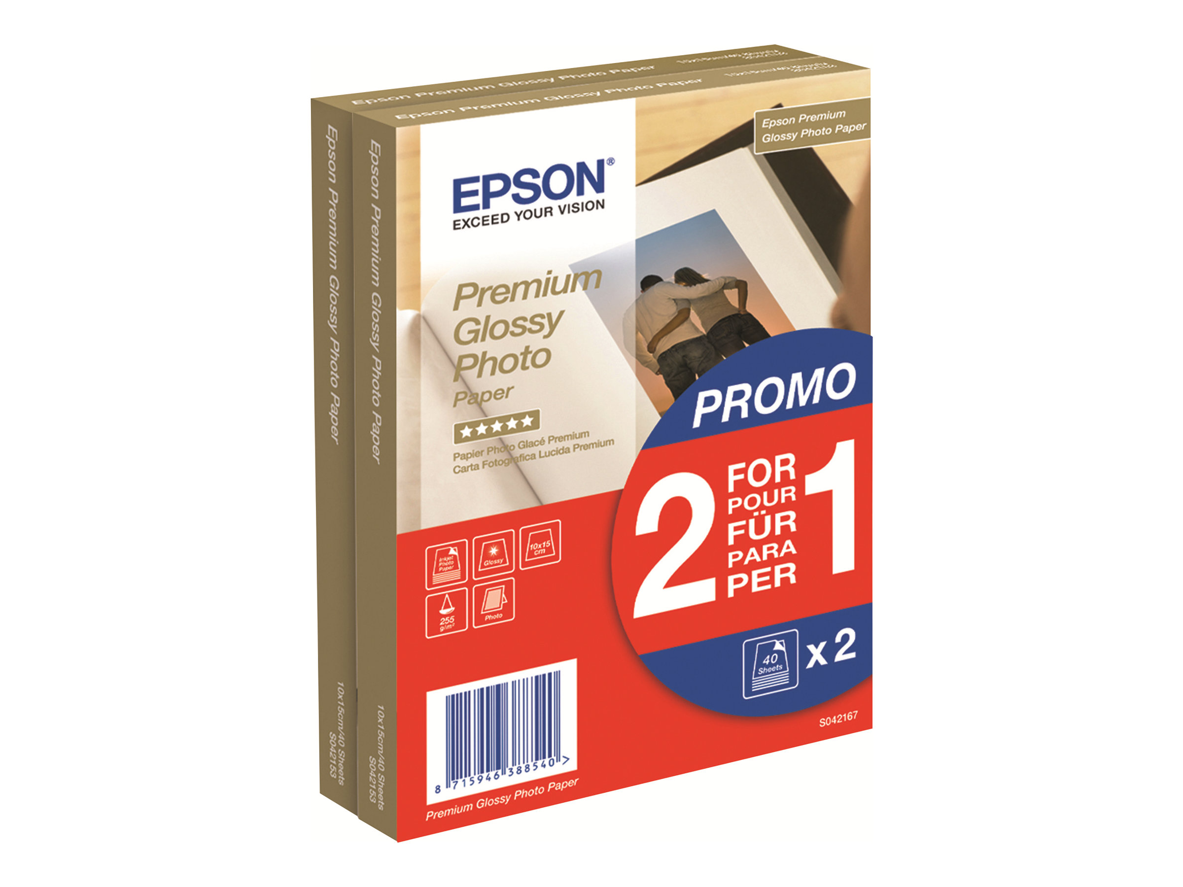 Epson Premium Glossy Photo Paper BOGOF - Brillant - 100 x 150 mm - 255 g/m² - 40 feuille(s) papier photo (pack de 2) - pour EcoTank ET-16500; Expression Home HD XP-15000; Expression Premium XP-540, 900