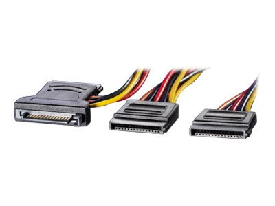 Roline Y-Adapterkabel - Netz-Splitter - 15 PIN SATA Power (W) bis 15 PIN SATA Power (M)