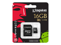 Mem Flash Micro SD SDHC 16GB KIN CL10 c/Adap