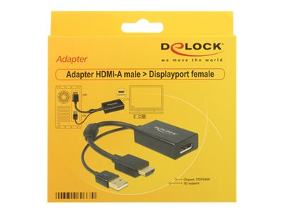 DeLOCK - Video transformer - HDMI - DisplayPort - sort - detailsalg